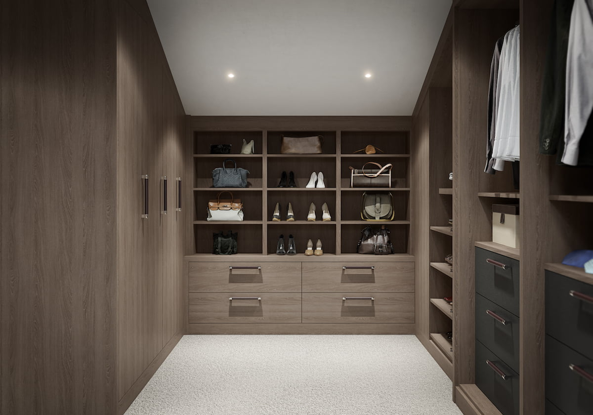 Image shows walk in dressing area in Varenna Mayfair